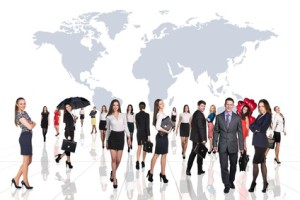 business people team with world map over white background. Elements of this image furnished by NASA